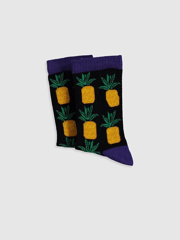 %62 Pamuk %36 Poliamid %2 Elastan Soket Çorap Kendinden Desenli Dikişli Erkek Çocuk Ananas Desenli Soket Çorap