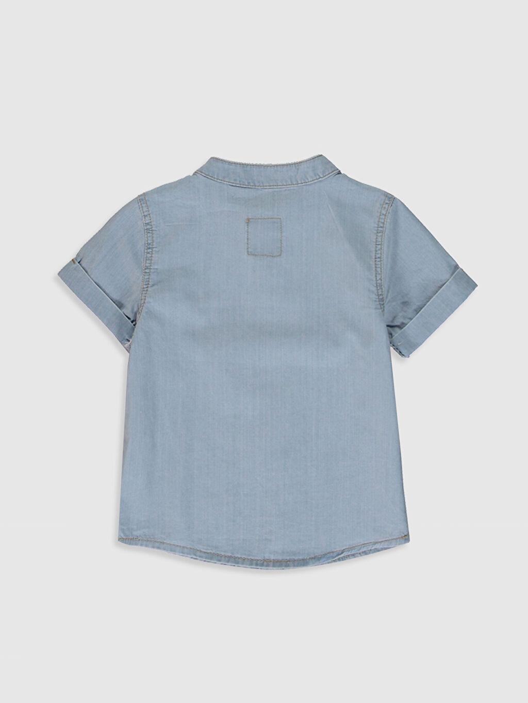 %100 Pamuk Standart Kısa Kol Düz Erkek Bebek Jean Gömlek