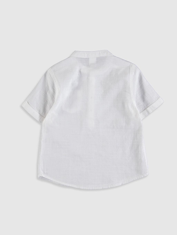 %100 Pamuk Yarım Pat Poplin Astarsız Kısa Kol Hakim Yaka Düz Aksesuarsız Gömlek Gömlek Standart %100 Pamuk Erkek Bebek Hakim Yaka Gömlek