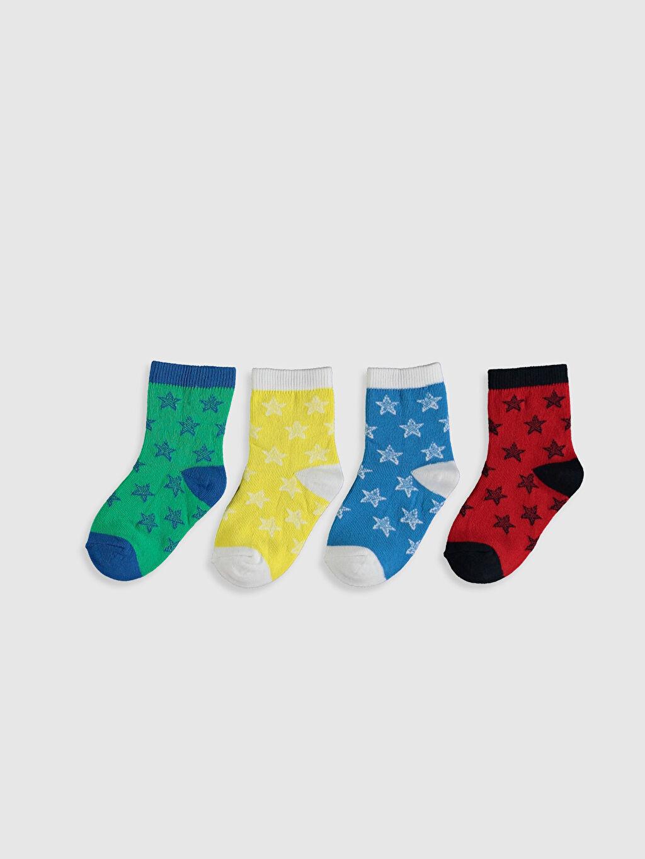 %79 Pamuk %19 Poliamid %2 Elastan Dikişli Günlük Orta Kalınlık Diğer Soket Çorap Erkek Bebek Soket Çorap 4'lü