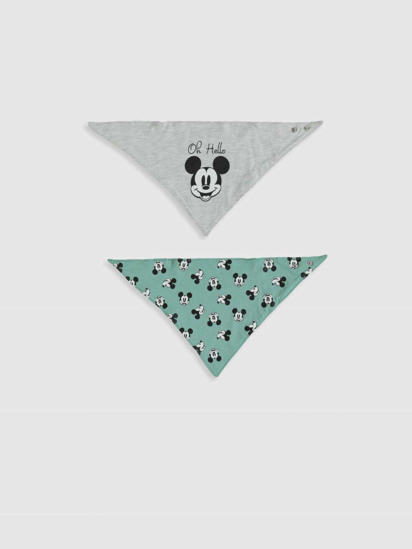 Ekru Erkek Bebek Mickey Mouse Baskılı Mama Önlüğü 2'li 0S1142Z1 LC Waikiki