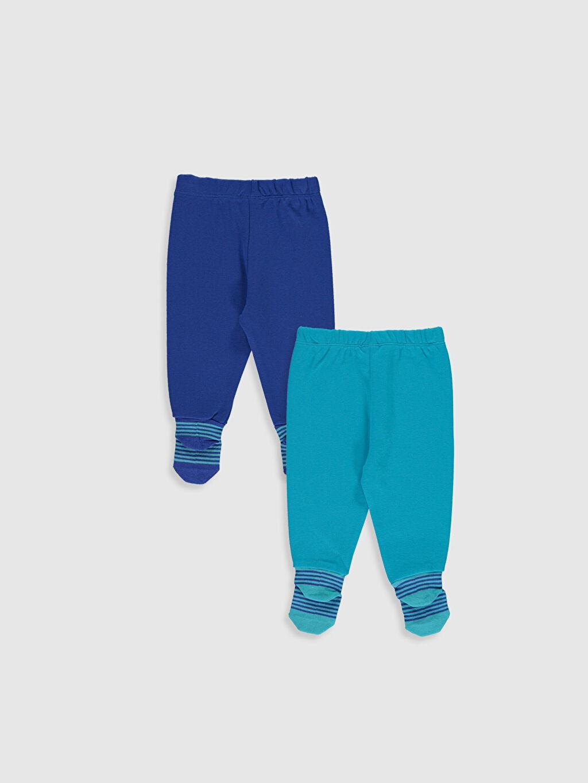 %100 Pamuk Standart Pijama Alt İnterlok %100 Pamuk Erkek Bebek Çoraplı Pijama Alt 2'li