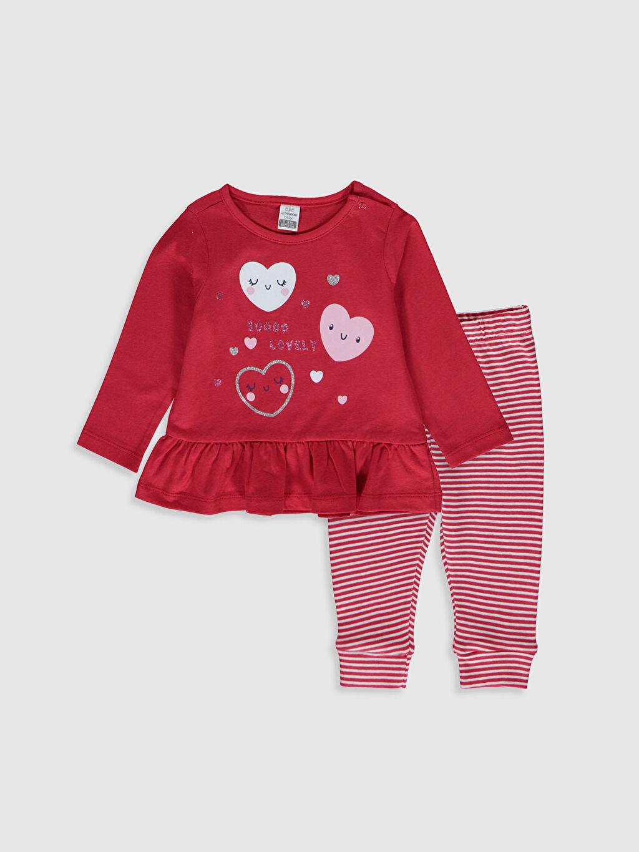 Kırmızı Kız Bebek Desenli Pijama Takımı 0S1892Z1 LC Waikiki