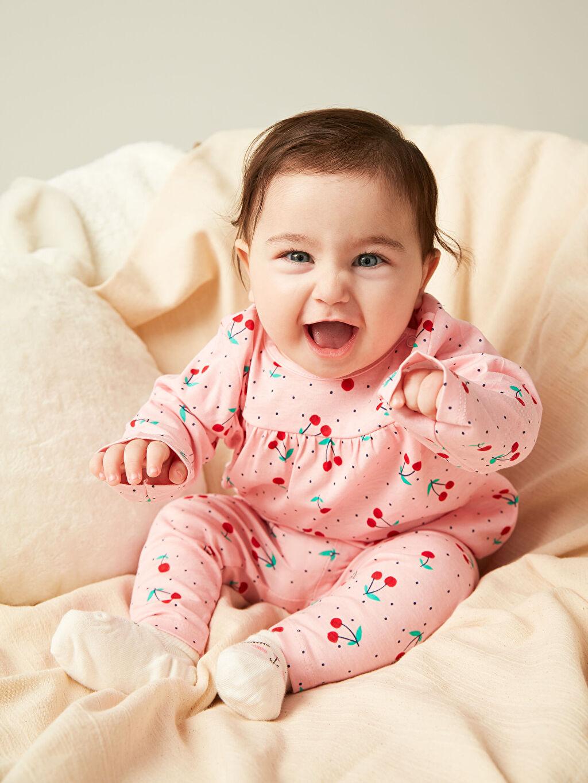 Pembe Kız Bebek Desenli Pamuklu Pijama Takımı 0S1960Z1 LC Waikiki
