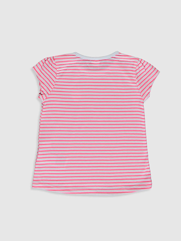 %100 Pamuk Çizgili Kısa Kol Tişört Bisiklet Yaka Standart Kız Bebek Pamuklu Tişört