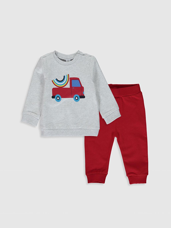 Ekru Erkek Bebek Baskılı Sweatshirt ve Pantolon 0S2176Z1 LC Waikiki
