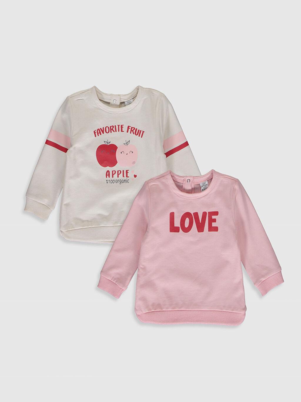 Pembe Kız Bebek Baskılı Sweatshirt 2'li 0S2231Z1 LC Waikiki