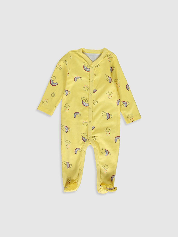 Sarı Kız Bebek Baskılı Pamuklu Tulum 0S2398Z1 LC Waikiki