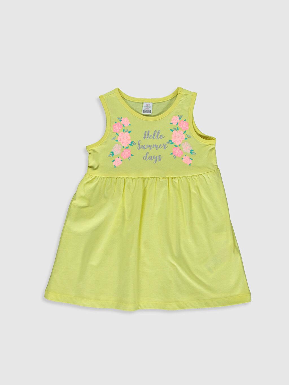 Sarı Kız Bebek Baskılı Elbise 0S2469Z1 LC Waikiki