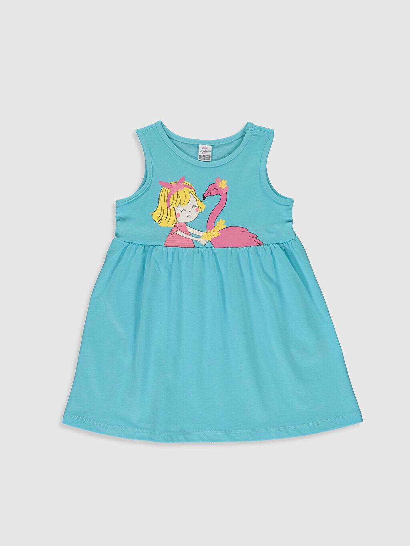 Turkuaz Kız Bebek Baskılı Elbise 0S2469Z1 LC Waikiki