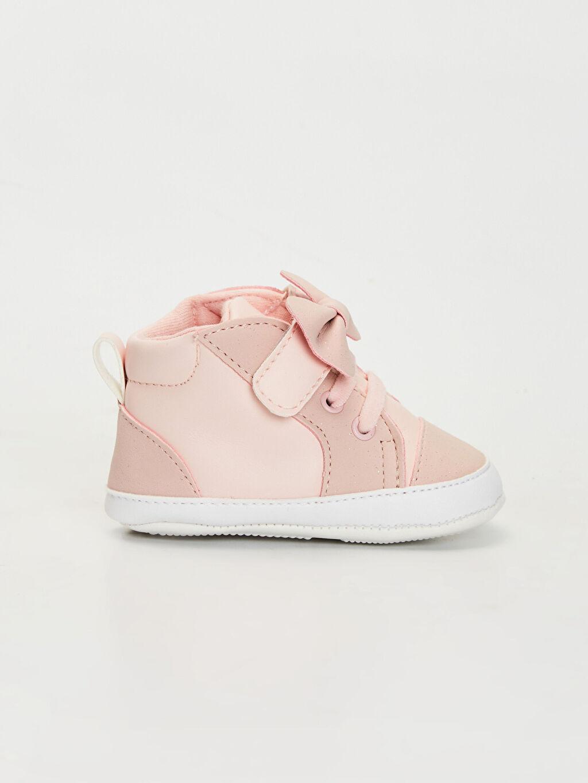 %0 Diğer malzeme (poliüretan) Bağcık Işıksız Pamuk Astar Yürümeyen Kız Bebek Fiyonk Detaylı Yürüme Öncesi Ayakkabı