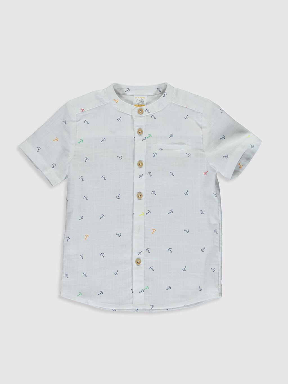 Mavi Erkek Bebek Desenli Poplin Gömlek 0S3150Z1 LC Waikiki