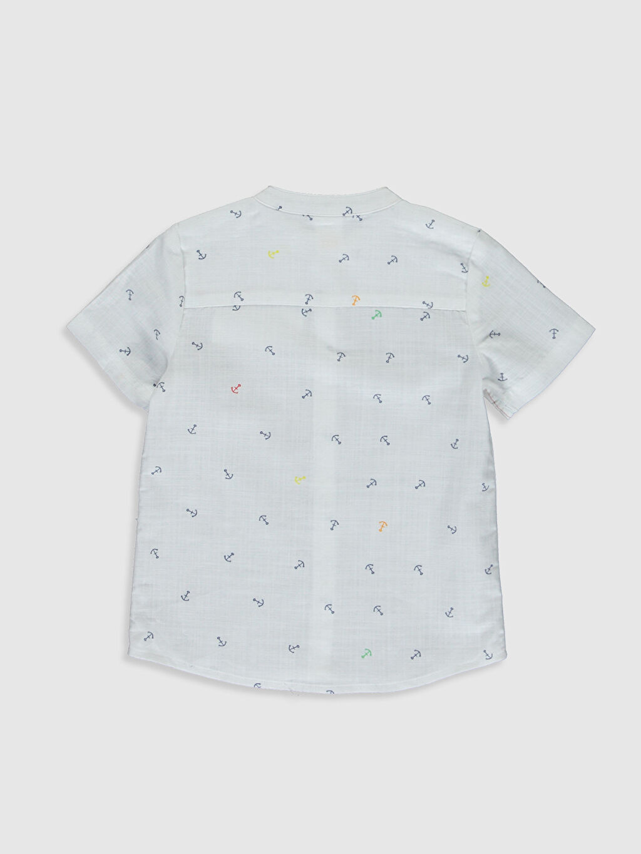 %100 Pamuk Standart Desenli Kısa Kol Erkek Bebek Desenli Poplin Gömlek