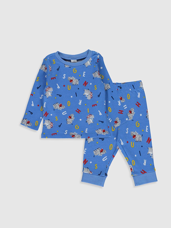 Mavi Erkek Bebek Desenli Pijama Takımı 0S3256Z1 LC Waikiki