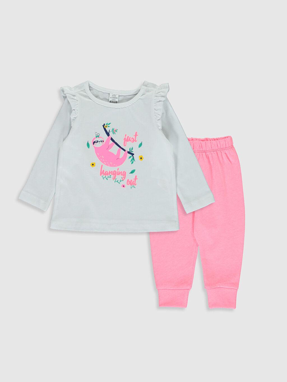 Beyaz Kız Bebek Baskılı Pamuklu Pijama Takımı 0S3271Z1 LC Waikiki