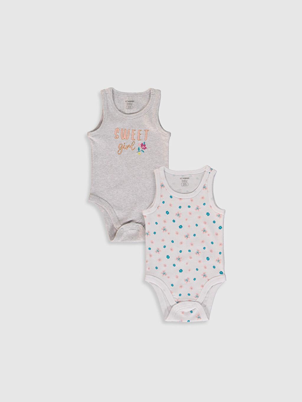 Gri Kız Bebek Baskılı Çıtçıtlı Body 2'li 0S4368Z1 LC Waikiki