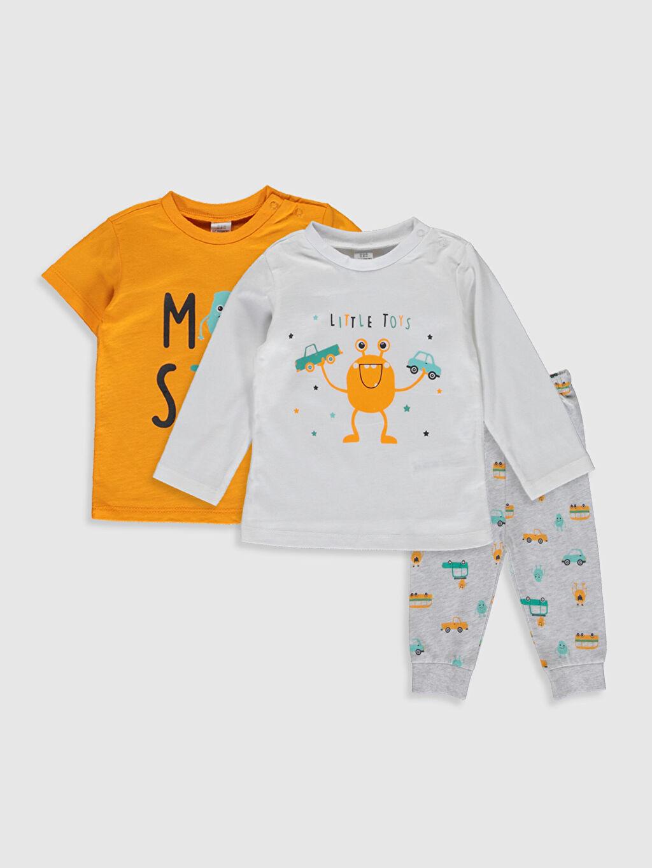 Beyaz Erkek Bebek Desenli Pijama Takımı 3'lü 0S4832Z1 LC Waikiki