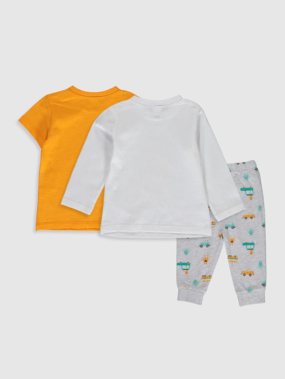 %100 Pamuk %100 Pamuk Süprem Standart Pijama Takım %100 Pamuk Erkek Bebek Desenli Pijama Takımı 3'lü