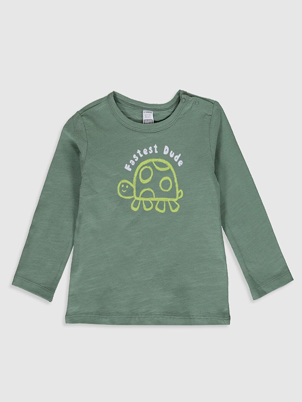 Yeşil Erkek Bebek Baskılı Pamuklu Tişört 0S4855Z1 LC Waikiki