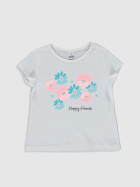 Beyaz Kız Bebek Baskılı Pamuklu Tişört  0S5256Z1 LC Waikiki