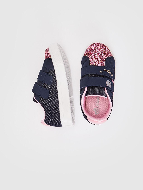 %0 Tekstil malzemeleri (%100 poliester)  Kız Bebek Pul Payetli Bez Sneaker Ayakkabı