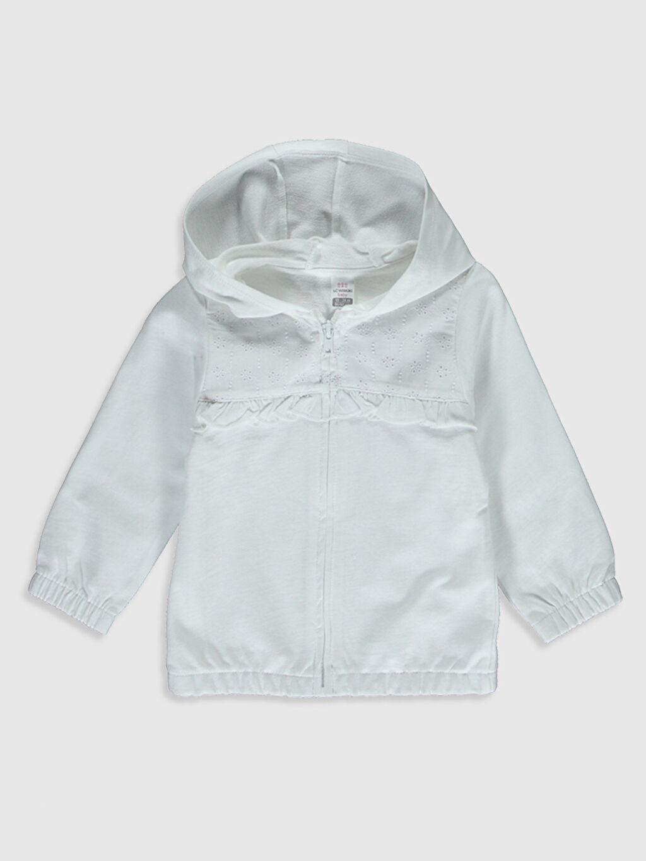 Beyaz Kız Bebek Kapüşonlu Sweatshirt 0S5469Z1 LC Waikiki