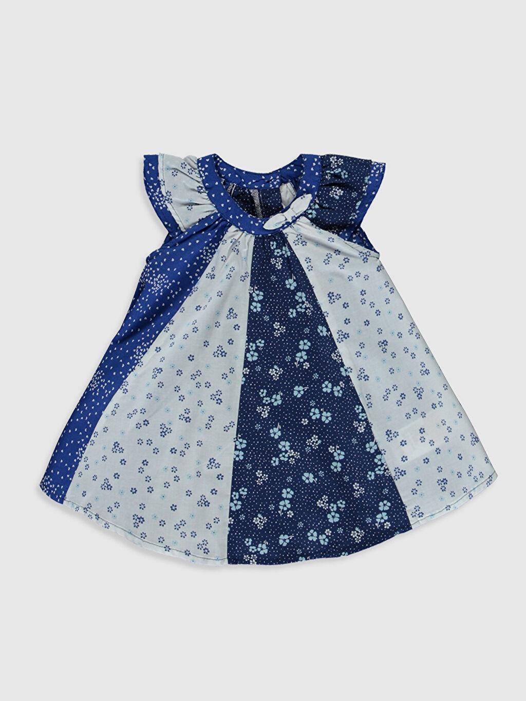 Mavi Kız Bebek Desenli Poplin Elbise 0S5597Z1 LC Waikiki