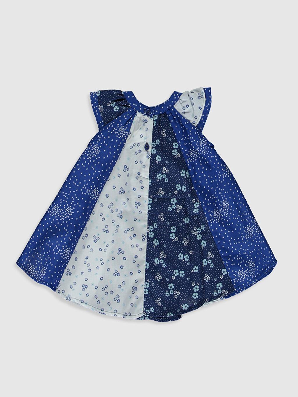 %100 Pamuk  Kız Bebek Desenli Poplin Elbise