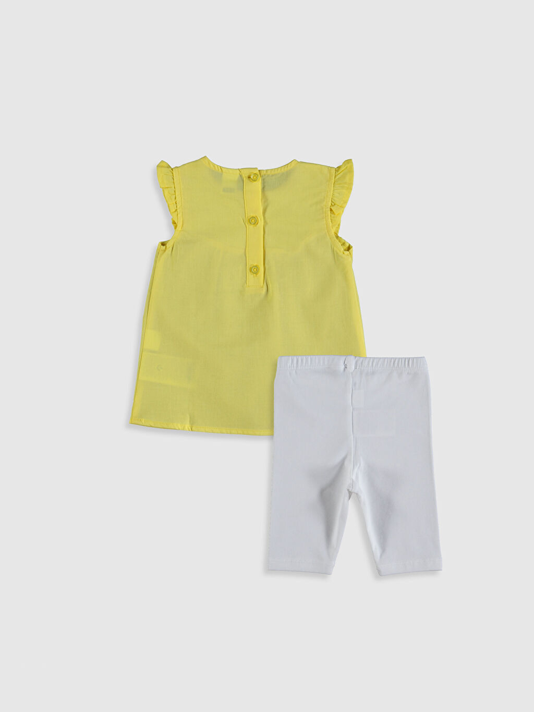 %100 Pamuk %96 Pamuk %4 Elastan Takım Aksesuarsız Vual Kız Bebek Tişört ve Tayt 2'li