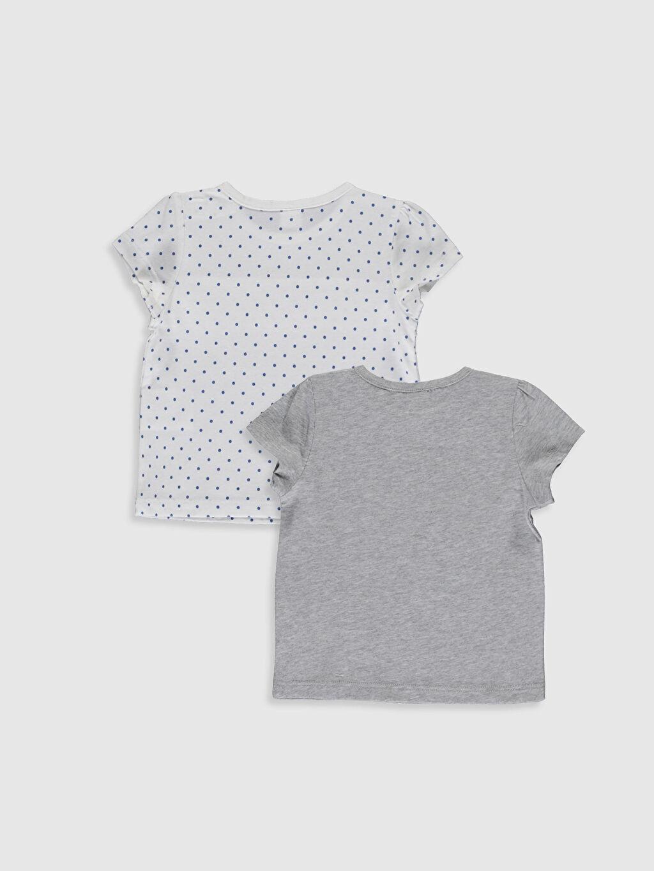 %100 Pamuk Bisiklet Yaka Süprem Tişört Kız Bebek Desenli Tişört 2'li