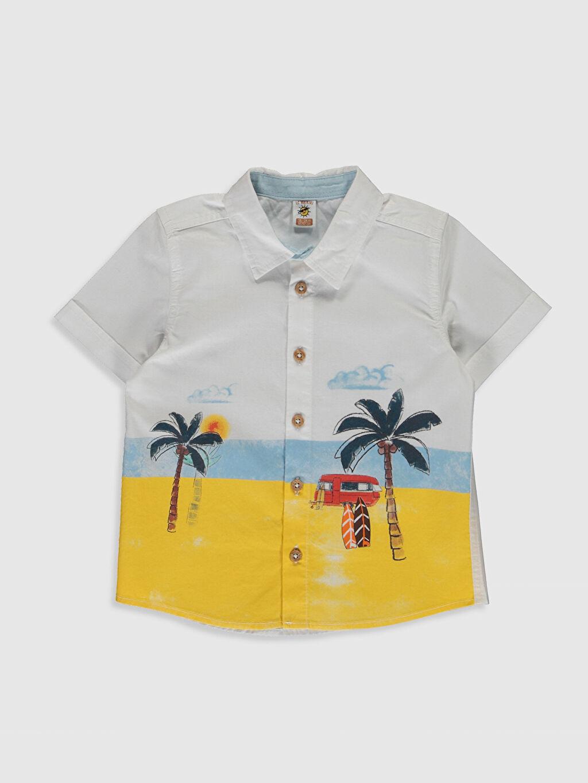 Beyaz Erkek Bebek Desenli Gömlek 0S5742Z1 LC Waikiki