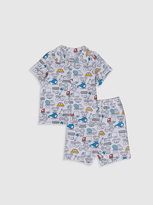 Beyaz Erkek Bebek Baskılı Pamuklu Pijama Takımı 0S5911Z1 LC Waikiki