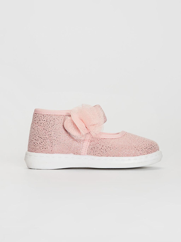 Pembe Kız Bebek Çiçek Detaylı Bez Babet Ayakkabı 0S6049Z1 LC Waikiki
