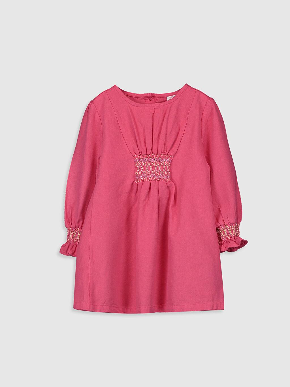 Pembe Kız Bebek Büzgülü Twill  Elbise 0S6536Z1 LC Waikiki