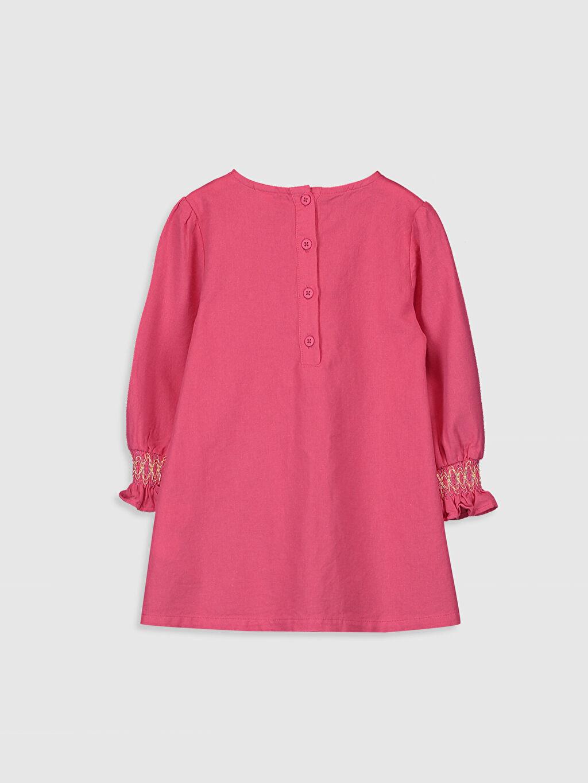 %100 Pamuk Düz Kız Bebek Büzgülü Twill  Elbise