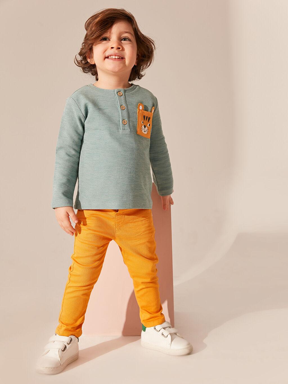 Sarı Erkek Bebek Gabardin Pantolon 0S6707Z1 LC Waikiki