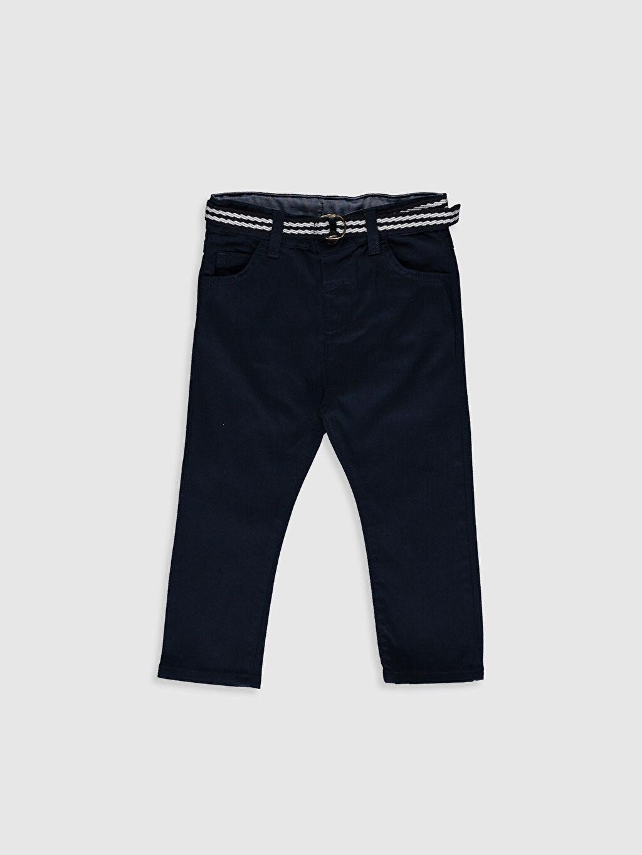 Lacivert Erkek Bebek Slım Fıt Gabardin Pantolon ve Kemer 0S6764Z1 LC Waikiki
