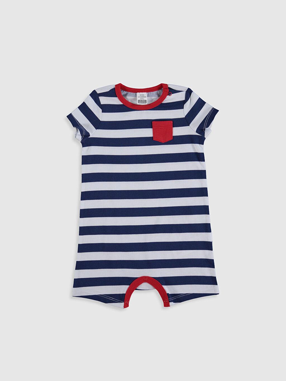 Erkek Bebek Erkek Bebek Çizgili Pamuklu Tulum 2'li