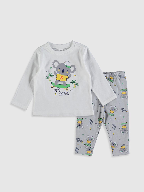Beyaz Erkek Bebek Baskılı Pamuklu Pijama Takımı 0S7308Z1 LC Waikiki
