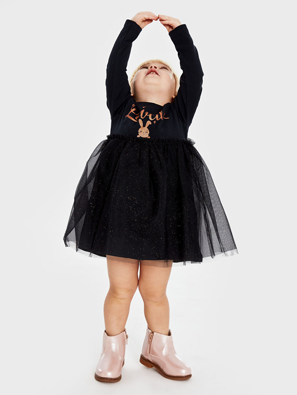 Kız Bebek Uzun Desenli Elbise