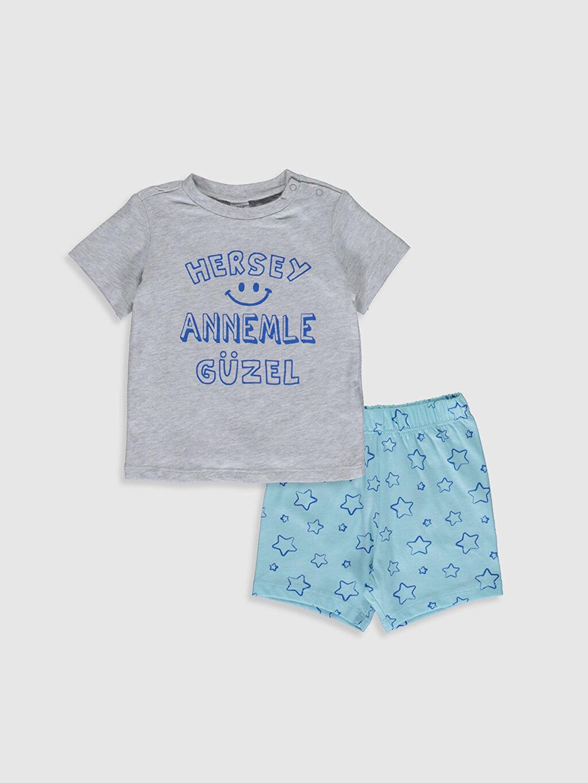 Gri Erkek Bebek Yazı Baskılı Pijama Takımı 0S7366Z1 LC Waikiki