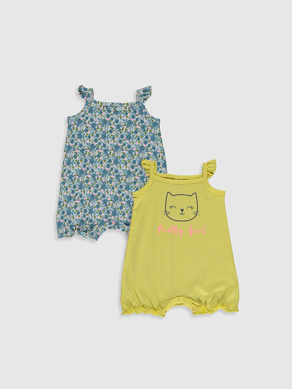 Sarı Kız Bebek Baskılı Çıtçıtlı Body 2'li 0S7611Z1 LC Waikiki