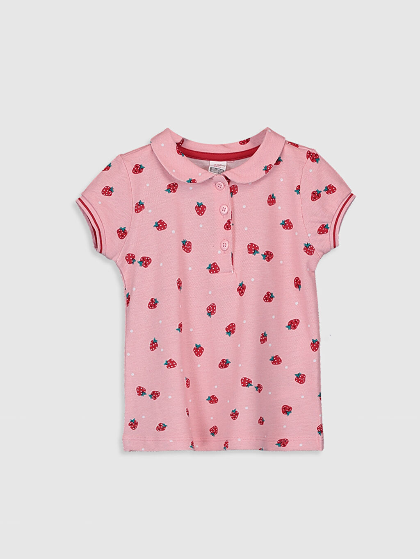 Pembe Kız Bebek Desenli Pamuklu Tişört 0S8515Z1 LC Waikiki