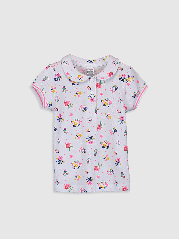 Beyaz Kız Bebek Desenli Pamuklu Tişört 0S8515Z1 LC Waikiki