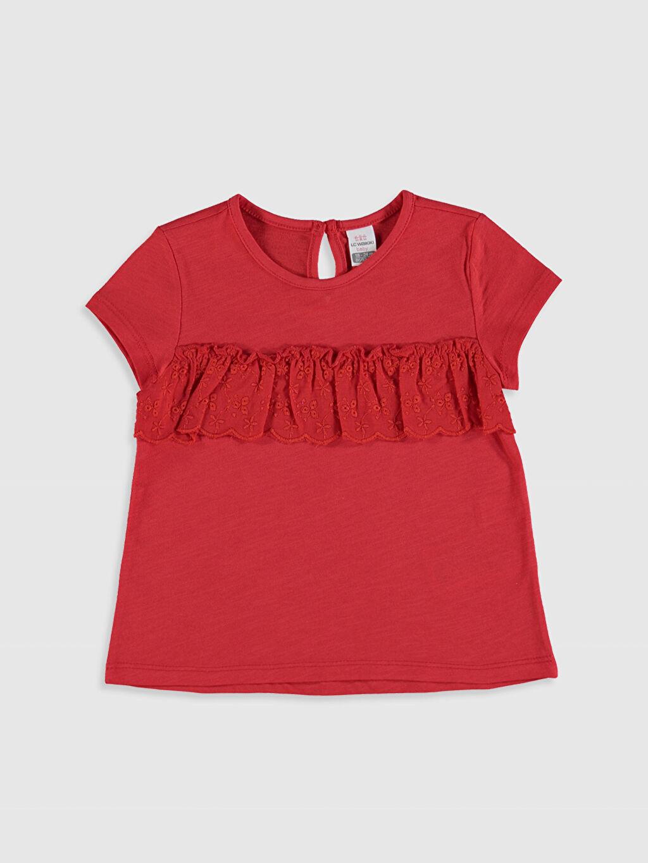 Kırmızı Kız Bebek Fırfırlı Pamuklu Tişört 0S8541Z1 LC Waikiki