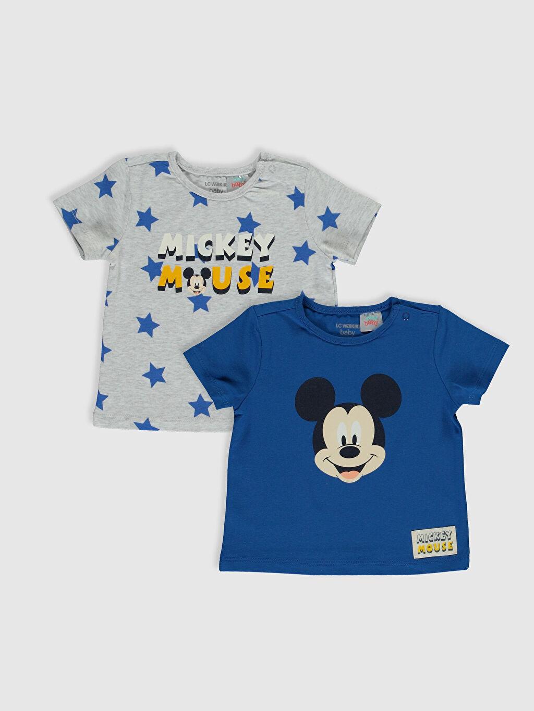 Mavi Yenidoğan Mickey Mouse Baskılı Tişört 2'li 0S8783Z1 LC Waikiki
