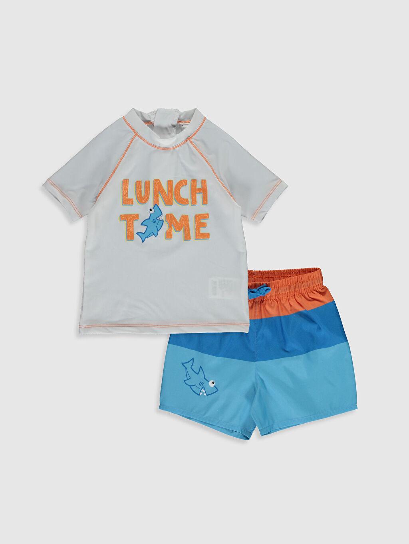 Beyaz Erkek Bebek Baskılı Yüzme Takım 0S8999Z1 LC Waikiki