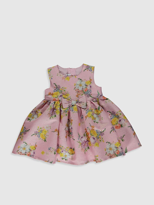 Pembe Kız Bebek Çiçek Desenli Fırfırlı Elbise 0S9177Z1 LC Waikiki