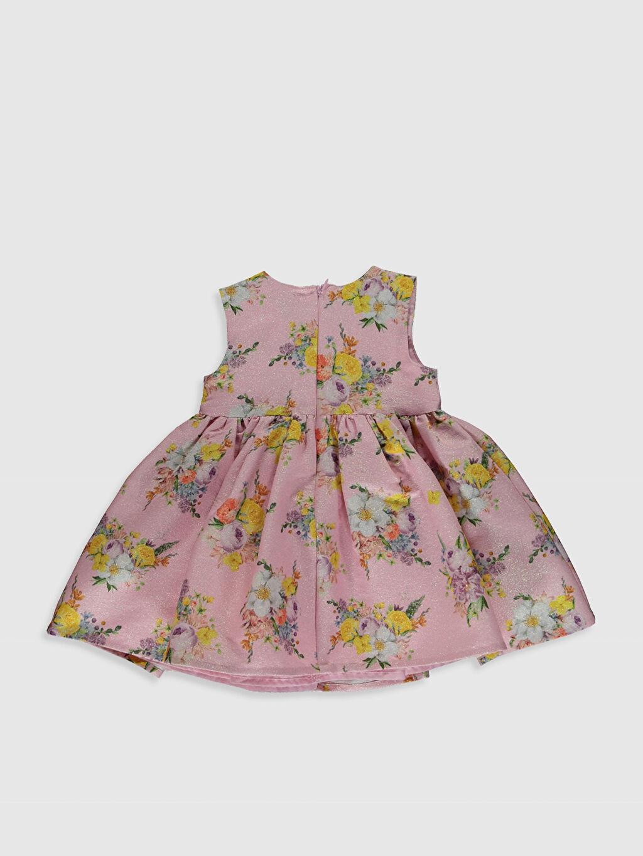 %98 Polyester %2 Elastan Desenli Kız Bebek Çiçek Desenli Fırfırlı Elbise
