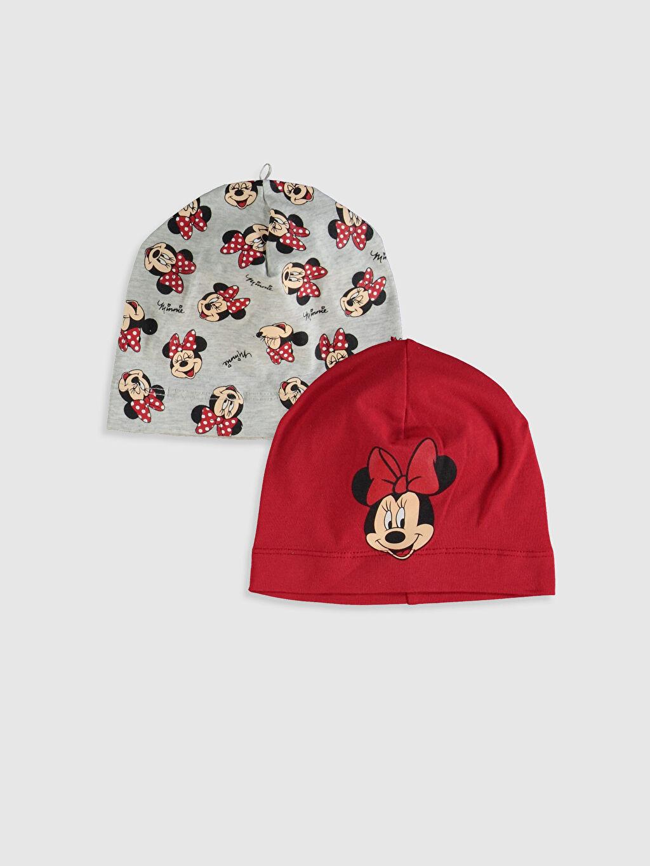Kırmızı Kız Bebek Minnie Mouse Baskılı Bere 2'li 0SG084Z1 LC Waikiki